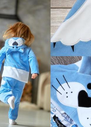 Осенний велюровый спортивный костюм на девочку, голубой спортивный костюм на малышку котик