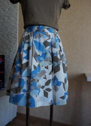 Mexx хлопковая юбка /складки/геометрический принт