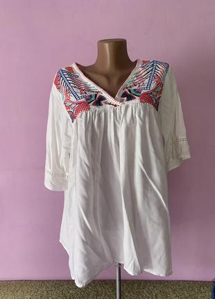 Стильная блуза вискоза с вышивкой колорит блуза з вишивкою