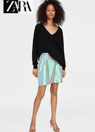 Эффектная мини-юбка модного испанского бренда zara с паетками.коллекционный вариант.