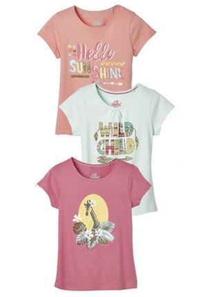 Набор футболок 3шт для девочки 110 116 lupilu германия