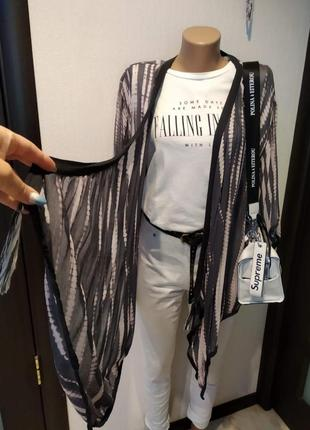 Тончайшая полупрозрачная блузка рубашка кофта кардиган накидка