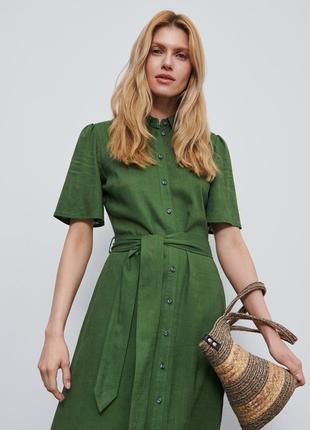 Сочное натуральное макси платье рубашка reserved 14--48-50 размер.
