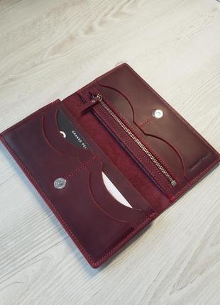 Женский кожаный кошелек купюрник на магните, grande pelle
