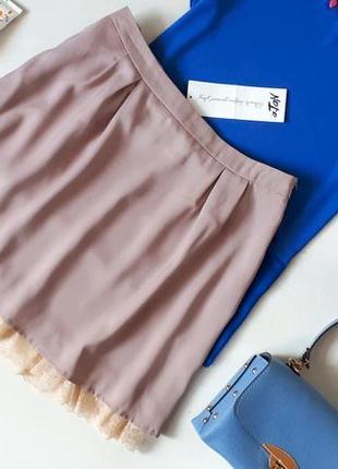 Новая шелковая пудрово бежевая юбка andre tan 55 % шелк юбка солнце андре тан с кружевом