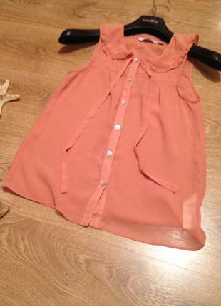 Стильная воздушная блуза топ под юбка шорты бренд   new look / хs3