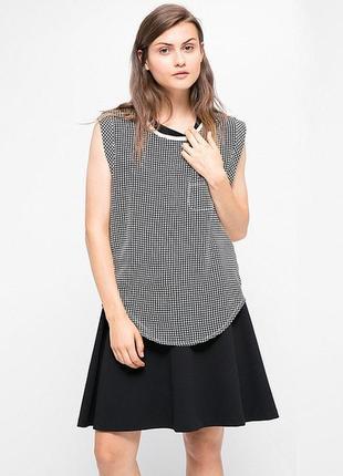 Стильная майка блуза mango s/m черно-белая в клетку