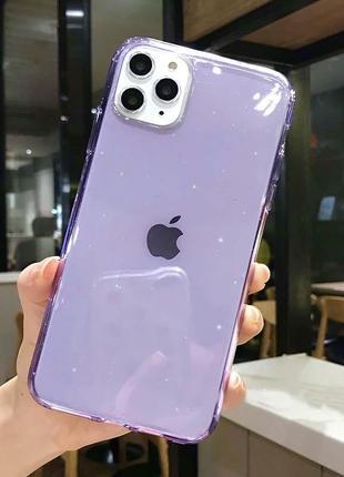 Блестящий фиолетовый прозрачный чехол в блестках tpu для apple iphone айфон 11/pro/pro max