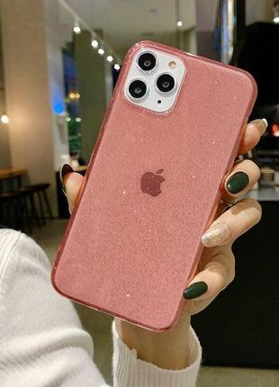 Блестящий розовый прозрачный чехол в блестках tpu для apple iphone айфон 11 pro1 фото