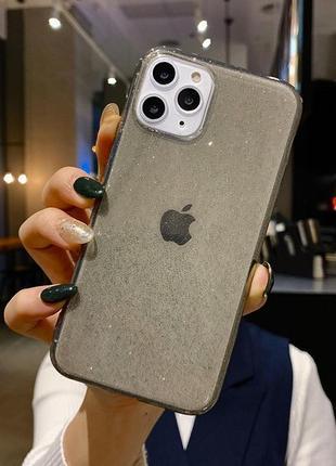 Блестящий черный прозрачный чехол в блестках tpu для apple iphone айфон 11 / 11 pro max