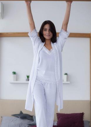 Mito бархат комплект халат и пижама брюки с кружевом белый перламутр