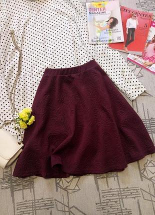 Красивая юбочка бургунди, new look, размер 10-12