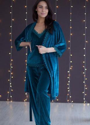 Mito бархат комплект халат и пижама брюки с кружевом изумруд