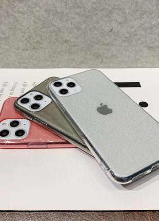 Блестящий розовый прозрачный чехол в блестках tpu для apple iphone айфон 11 pro10 фото