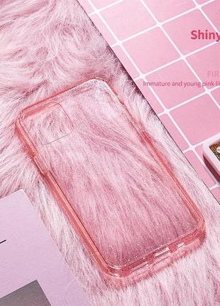 Блестящий розовый прозрачный чехол в блестках tpu для apple iphone айфон 11 pro5 фото