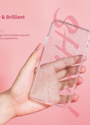 Блестящий розовый прозрачный чехол в блестках tpu для apple iphone айфон 11 pro4 фото