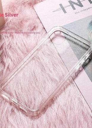 Блестящий розовый прозрачный чехол в блестках tpu для apple iphone айфон 11 pro6 фото