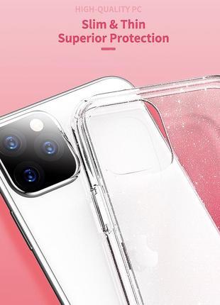 Блестящий розовый прозрачный чехол в блестках tpu для apple iphone айфон 11 pro7 фото