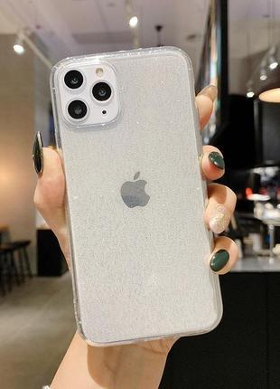 Блестящий прозрачный чехол в серебристых блестках tpu на apple iphone айфон 11/pro/pro max