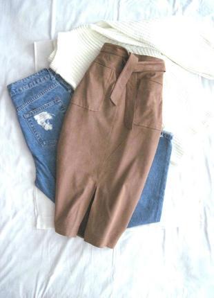 Идеальная замшевая юбка высокая талия под поясок monsoon