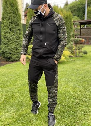 Костюм спортивный мужской pm 16624 черный с камуфляжем