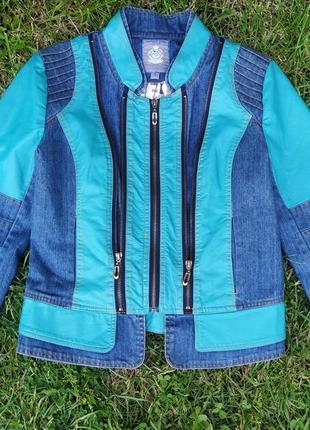 Куртка-пиджак джинс/кожа