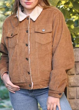Бомбер куртка коричневая вельветовая на пуговицах с мехом