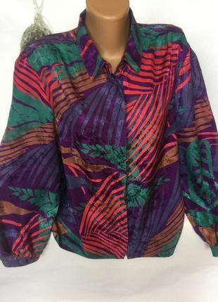 Шикарная яркая рубашка шёлк 100%