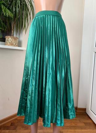Шикарная изумрудная юбка миди плиссе