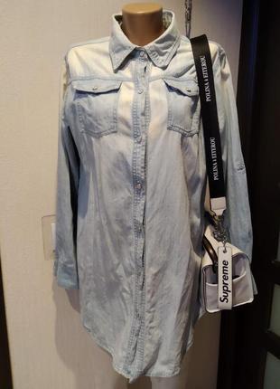 Отличная тонкая светлая джинсовая рубашка блузка