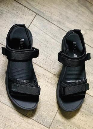 Супер удобные черные сандали на липучках/наложка/распродажа