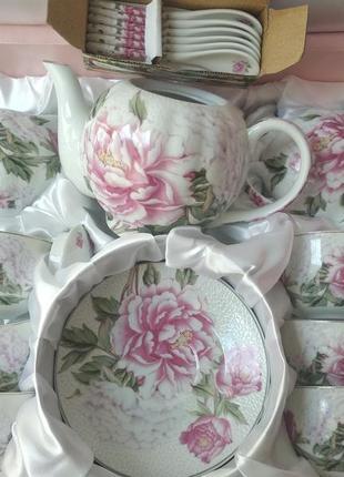 Чайный сервиз пионы на 15 предметов