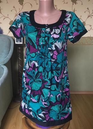 Сукня туніка від h&m котонова яскравий принт квіти