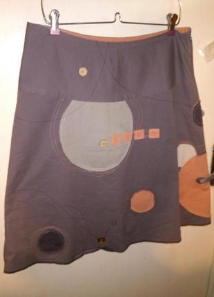 Стрейч-хлопок,обалденная,летняя,мокко юбка-трапеция с вышивками и аппликацией,бохо
