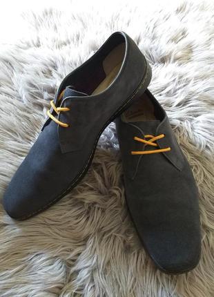 Туфли мужские замшевые темно синие,оригинальные clarks