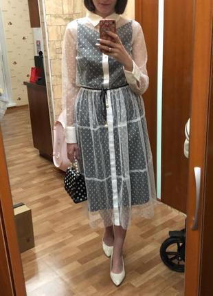 Модное прозрачное платье  черное белое