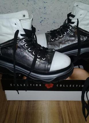 Зимние антискользящие сапоги ботинки на платформе натуральная кожа 38