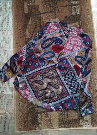 Рубашка шелк / атласная блуза / сатиновая / под версаче / сорочка / блузка