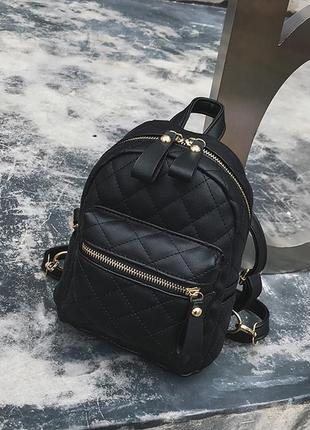 Рюкзак женский стильный маленький стеганый модный супер качественный черный