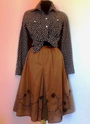 "Sale# красивый летний х/б комплект цвета ""молочный шоколад"": юбка и блуза - l"