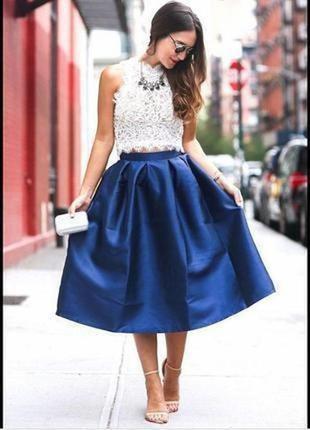 Синяя юбка миди # ефектное юбка из неопрена # юбочка миди asos