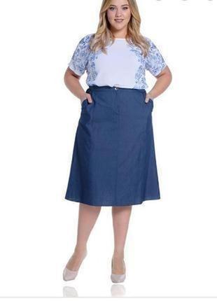Женская джинсовая юбка трапеция большого размера m&s