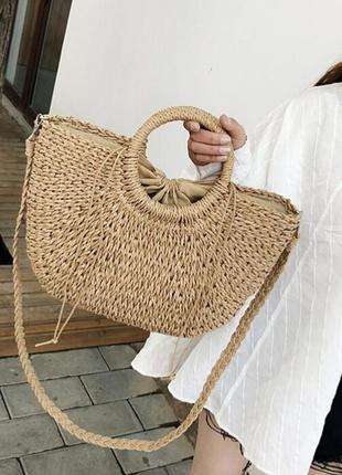 Соломенная сумка. сумка из соломы. летняя сумка. сумка с длинной ручкой