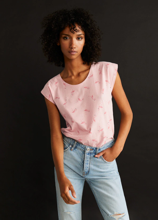 Розовая футболка фламинго оверсайз хлопок mango