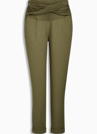Креповые брюки хаки для беременных