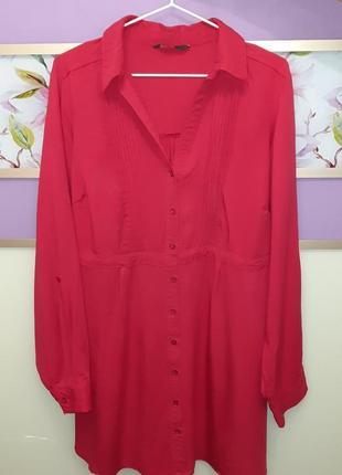 🎁1+1=3 крутая яркая розовая удлиненная блуза блузка блузон e-vie, размер 54 - 56