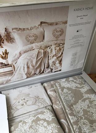 Набор постельное белье с покрывалом   плед karaca home quatre royal gold золотой евро