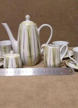 Посуда сервиз кофейный чашки, блюдца, чайник, сахарница