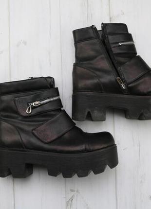 Ботинки тракторы чёрные женские демисезонные