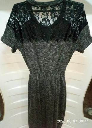 Красивое фирменное платье george c кружевом 44-46р